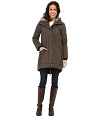 Vince Camuto Parka With Faux Fur Lined Hood J8851 Dark Taupe Women's Coat
