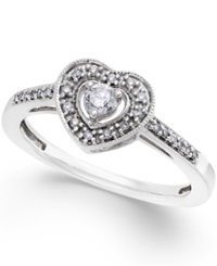 No Vendor Diamond Heart Promise Ring In Sterling Silver 1 5 Ct. T.W.