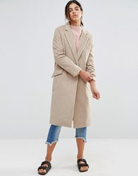 Native Youth Longline Brushed Duster Coat Camel Beige