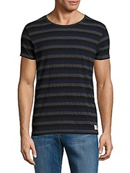 Scotch And Soda Striped Cotton Blend Tee Dessin Charcoal
