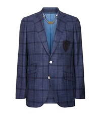 Billionaire Silk And Wool Check Jacket Male Blue