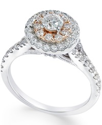 Macy's Diamond Two Tone Engagement Ring 1 Ct. T.W. In 14K Gold And Rose Gold