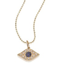 Sydney Evan Diamond Sapphire And 14K Yellow Gold Evil Eye Necklace