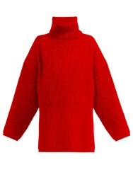 Acne Studios Ribbed Knit Roll Neck Wool Sweater Red