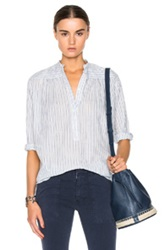 Nili Lotan Ruched Selvage Lawn Top In White Blue Stripes