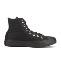 Converse Women's Chuck Taylor All Star Craft Leather Hi Top Trainers Black Monochrome