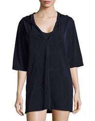 J Valdi Hooded Cover Up Tunic Navy