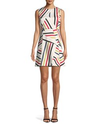 Milly Alexa Directional Striped Shift Dress Multi