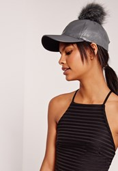 Missguided Faux Leather Pom Pom Hat Grey Grey