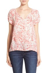 Women's Hinge Short Sleeve Popover Top Pink Shell Baby Leaves