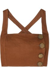Nicholas Open Back Cropped Linen Top Brown