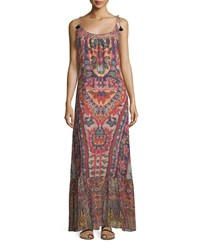 Figue Koko Ikat Print Tie Shoulder Maxi Dress Red Lotus