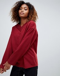 Weekday V Neck Sweatshirt In Dark Red Red Dark