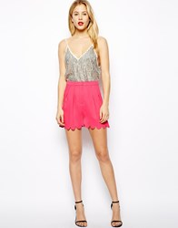 Asos Soft Shorts With Scallop Hem Pink