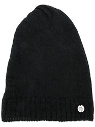 Lost And Found Ria Dunn Ribbed Trim Beanie Men Linen Flax Nylon Mohair Wool One Size Black