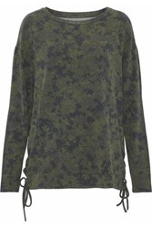 Majestic Filatures Lace Up Printed Jersey Top Dark Green