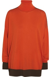 Michael Michael Kors Two Tone Merino Wool Blend Turtleneck Sweater Orange