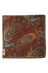 Men's Robert Talbott Paisley Pocket Square Brown