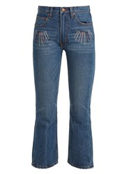 Bliss And Mischief Sunrise Embroidered High Rise Cropped Jeans Blue