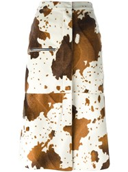 Golden Goose Deluxe Brand Faux Cow Skin Skirt Nude And Neutrals