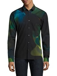 Hugo Boss Neon Palm Print Cotton Shirt Green