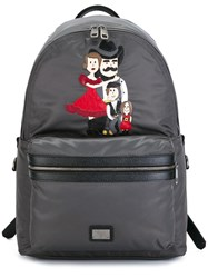 Dolce And Gabbana 'Vulcano' Western Family Patch Backpack Grey