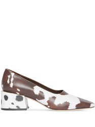 Burberry Animal Print Leather Block Heel Pumps Brown
