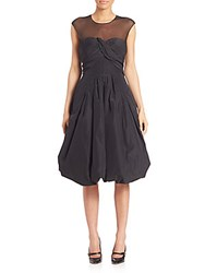 Oscar De La Renta Bubble Hem Silk Cocktail Dress Black