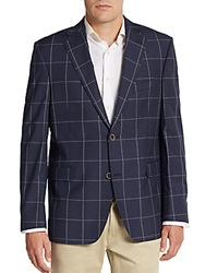 Saks Fifth Avenue Slim Fit Windowpane Silk And Wool Sportcoat Navy White