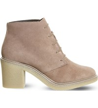 Office Lulu Lace Up Suede Ankle Boots Taupe Suede