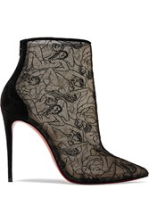 Christian Louboutin Psybootie 100 Suede Trimmed Embroidered Mesh Ankle Boots Black