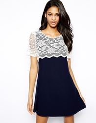 John Zack Shift Dress With Lace Panel Navywhitelace