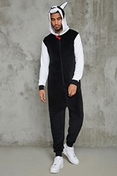 Forever 21 Men French Bulldog Jumpsuit Black White