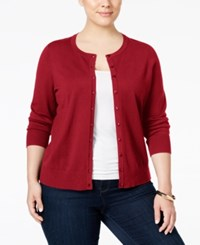 Charter Club Plus Size Long Sleeve Cardigan Only At Macy's New Red Amore