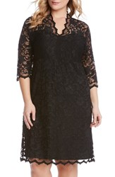 Plus Size Women's Karen Kane Scalloped V Neck Stretch Lace Dress