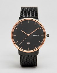 Skagen Ancher Black Watch With Gold Dial Skw6296 Black