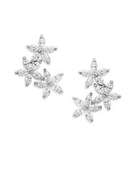 Saks Fifth Avenue Flower Drop Earrings Silver