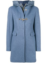 Fay Hybrid Hooded Coat Acrylic Polyamide Polyester Virgin Wool S Blue