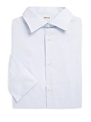 Giorgio Armani Modern Fit Textured Cotton Dress Shirt Frost Blue