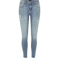 River Island Womens Light Wash Ripped Amelie Super Skinny Jeans