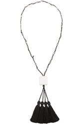 Zeus Dione Tasseled Waxed Cotton And Marble Necklace