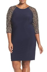 Chetta B Plus Size Women's Beaded Sleeve Jersey Cocktail Dress Navy Gold