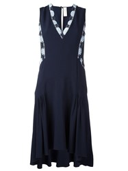 Peter Pilotto Embellished V Neck Dress Blue