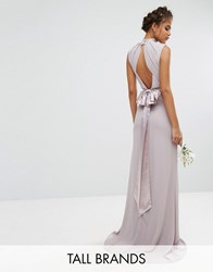 Tfnc Tall Wedding High Neck Maxi Dress With Bow Back Grey