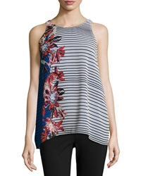 Max Studio Waikiki Stripe Chiffon Tank White Blue Red