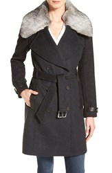 Andrew Marc New York Women's Genuine Rabbit Fur Trim Wool Blend Coat Dark Charcoal