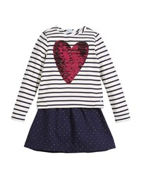 Joules Lucy Sequin Heart Striped And Polka Dot Dress Blue