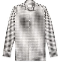 Dunhill Slim Fit Gingham Cotton Flannel Shirt Gray