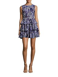 Cynthia Rowley Ruffled Paisley Fit And Flare Dress Navy