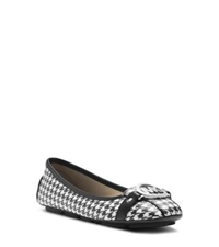 Michael Kors Fulton Houndstooth Moccasin Black White